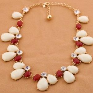 Cream & red teardrop statement necklace